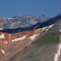 Views north to Uncompahgre Peak (14,321') and Wetterhorn Peak (14,015').- Redcloud Peak + Sunshine Peak