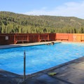 Grover Hot Springs are constructed as outdoor pools located in a beautiful alpine valley.- Grover Hot Springs