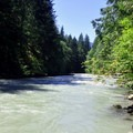 North Fork of the Nooksack River access from a riverside site.- Douglas Fir Campground