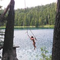 An ideal rope swing at Lower Twin Lake.- Twin Lakes