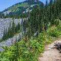 Skirting along the ridge.- Mason Lake