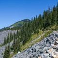 Trail across rock field.- Mason Lake