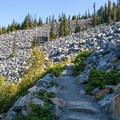Rock field crossing on the way to Mount Defiance.- Mount Defiance