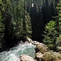 North Fork of the Nooksack River just before it plunges down Nooksack Falls.- Nooksack Falls