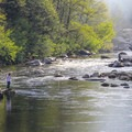 Early morning fishing on the North Fork of the Stanislaus River.- Sourgrass Day Use Area