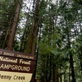 The entrance to Denny Creek Campground.- Denny Creek Campground
