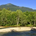 Mountain and river view from Silver Fir Campground.- Silver Fir Campground