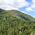 The trail opens to views of Mount Saint Helena (4,341').- Table Rock