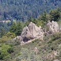 Climbers on crags near Table Rock Trail. - Table Rock