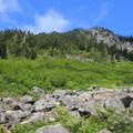 The rock trail near Keekwulee Falls.- Melakwa Lake via Denny Creek Trail