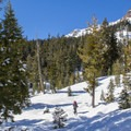 Pushing up the Sulphur Creek drainage toward Ridge Lakes.- Ridge Lakes Winter Camp