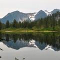 West Watson Lake beneath Bacon Peak.- Anderson + Watson Lakes