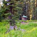 Vault Toilet in Huckleberry Campground.- Huckleberry Mountain Campground