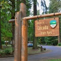 Entrance to Cascadia State Park.- Cascadia State Park Swimming Hole