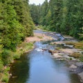 View down to the swimming hole at Cascadia State Park on the South Santiam River.- Cascadia State Park Swimming Hole