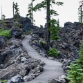 The Lava River Trail at the Dee Wright Observatory.- Lava River National Recreation Trail