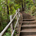 Steps lead down to the river from the day use parking lot.- Cascadia State Park Swimming Hole