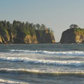 View from Rialto Beach with James and Little James Islands out in the distance.- Rialto Beach