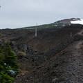 Into the lava fields. Belknap Crater (6,877') in the distance.- Little Belknap Crater