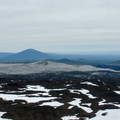 Panorama from summit: looking north at Black Butte (6,436').- Little Belknap Crater