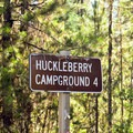 Sign to Huckleberry Mountain Campground.- Huckleberry Mountain Campground