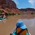 Silt fishing from the paddleboards.- Green River, Labyrinth Canyon