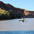 Adapting to the boards and the loads early in the trip.- Green River, Labyrinth Canyon