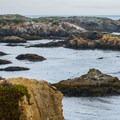 Rocky shoreline near Glass Beach.- Glass Beach