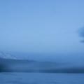 An evening fog settles in over Trillium Lake.- Trillium Lake Loop Trail