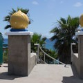 Entrance to the stairs reflects the origins of the beach's name.- Swami's Beach