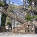 The steps leading from the parking area to the beach.- Swami's Beach