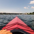 Looking out over Portage Bay. University Bridge and Ship Canal Bridge off in the distance.- Portage Bay Sea Kayaking