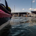 Covered slips in Portage Bay.- Portage Bay Sea Kayaking