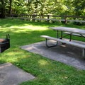 Picnic tables and barbecues in Rasar State Park's day use area.- Rasar State Park