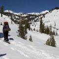 The trail to Ridge Lakes begins on the Lassen Park Highway.- Ridge Lakes Winter Camp
