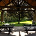 Inside the picnic shelter.- Howard Miller Steelhead Park Campground