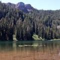 Tumble Lake invites swimming on a hot day- Dome Rock + Tumble Lake Hike