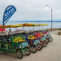 Pedal-driven carrage rentals.- Lovers Point Beach