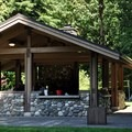 The day use picnic shelter in Rasar State Park Campground.- Rasar State Park Campground