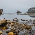 Where Harris Creek flows onto the beach.- Harris Beach