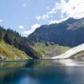 Snow around the lake.- Lake Serene