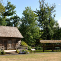 Tom Porter cabin and historic cedar canoe.- Howard Miller Steelhead Park Campground