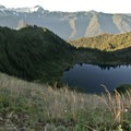 Hoh Lake sits just 800 feet below the High Divide.- Hoh to Sol Duc via High Divide Trail