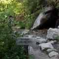 A sign toward the Mountaineer Route.- Mount Whitney Hike via Whitney Portal