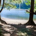 Campsite and beach at Barclay Lake.- Barclay Lake