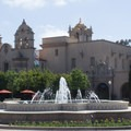 Fountain in Plaza de Panama, with Mingei International Museum in the background.- El Prado