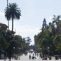 View looking west down El Prado.- El Prado