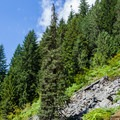 The route moves over a talus slope.- Eagle Lake