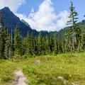 Merchant Peak over Paradise Meadow.- Eagle Lake