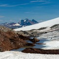 Look back at Broken Top (9,177') and the base of Hayden Glacier.- Middle Sister, East Approach